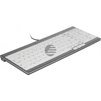 BNEU960SCDE BAKKER TASTATUR DE QWERTZ Ultraboard 960 weiss-silber mit Kabel