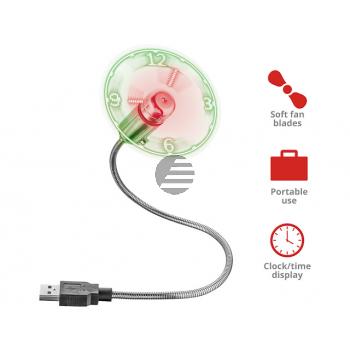 TRUST FLEX USB MINI TISCHVENTILATOR 23235 mit intergrierter LED-Uhr