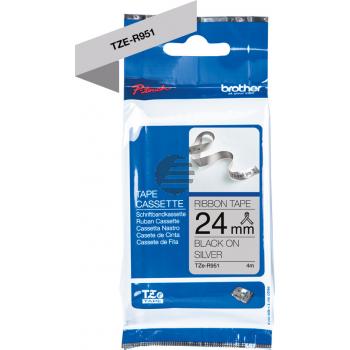 PTOUCH Band silber/schwarz TZE-R951 Tze Geräte 24mm