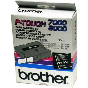 Brother Schriftbandkassette weiß/schwarz (TX-355)