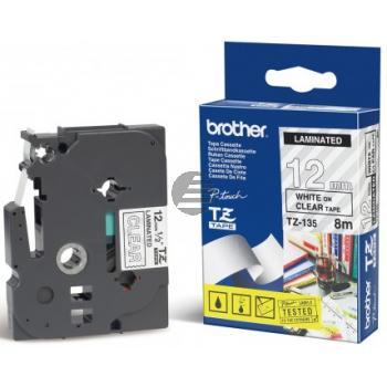 Brother Schriftbandkassette weiß/transparent (TZE-135)