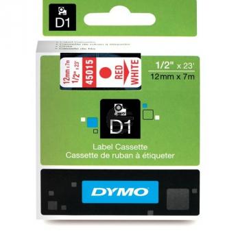 Dymo Schriftbandkassette rot/weiß (45015)