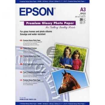 Epson Premium Glossy Photo Paper DIN A3 Fotopapier glänzend weiß 20 Seiten DIN A3 (C13S041315)