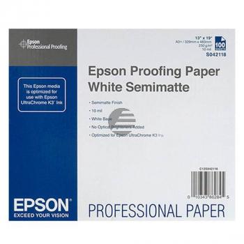 Epson Proofing Paper White Semimatte DIN A3+ 100 Seiten weiß (C13S042118)