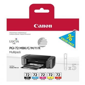 Canon Tintenpatrone gelb, cyan, magenta, schwarz matt, rot (6402B009, PGI-72C, PGI-72M, PGI-72MBK, PGI-72R, PGI-72Y)