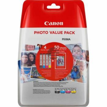 Canon Tintenpatrone gelb, cyan, schwarz, magenta (0386C006, CLI-571BK, CLI-571C, CLI-571M, CLI-571Y)