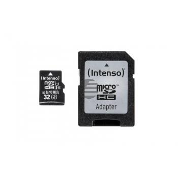 INTENSO MICRO SDHC KARTE UHSI 32GB 3433480 Klasse 10 mit Adapter