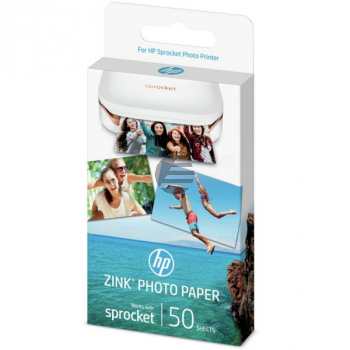 HP Zink Papier (Zink Papier selbstklebend) weiß 50 Blatt 2 x 3 Zoll 290 g/m² (1DE37A)