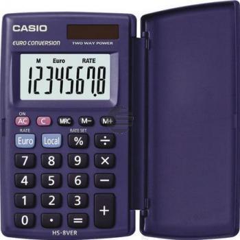 Casio Taschenrechner HS-8VER 8-stellig Solar/Batterie Prozent/Euro