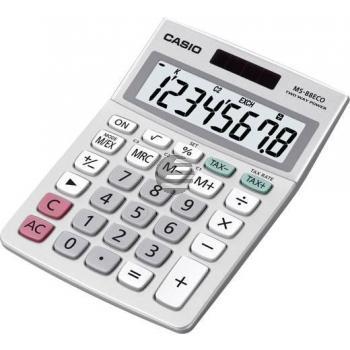 Casio Tischrechner MS-88ECO 8-stellig Solar/Batterie Prozent/Wurzel/Mwst/ Währung