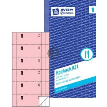 AZ Bonbuch 831 rosa/weiß Inh.2 x 50 Blatt 105 x 198 mm Avery Zweckform