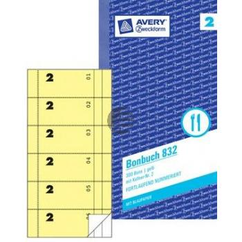 AZ Bonbuch 832 gelb/weiß Inh.2 x 50 Blatt 105 x 198 mm Avery Zweckform