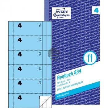 AZ Bonbuch 834 blau/weiß Inh.2 x 50 Blatt 105 x 198 mm Avery Zweckform