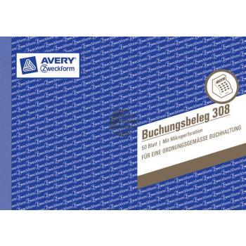 AZ Buchungsbeleg 308 A5 quer weiß Inh.50 Blatt Avery Zweckform