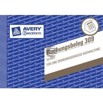 AZ Buchungsbeleg 309 A6 quer weiß Inh.50 Blatt Avery Zweckform