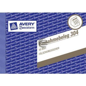 AZ Einnahmebeleg 304 A6 quer grün Inh.50 Blatt Avery Zweckform