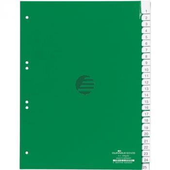 Durable Register A4 hoch PP grün 25-teilig blanko