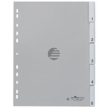 Durable Register A4 hoch PP grau 5-teilig blanko
