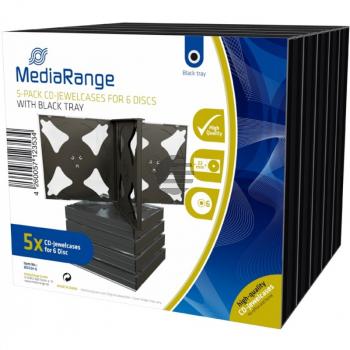 Mediarange CD Jewelcase (5) 22mm black für 6 Stück Retailpack