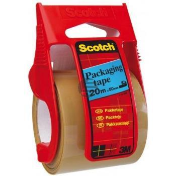 3M Scotch Paket-Klebeband Packband im Handabroller, 50 mm x 20 m