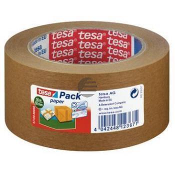 Tesapack Packband Paper 50 mm x 50 m braun von Hand einreissbar